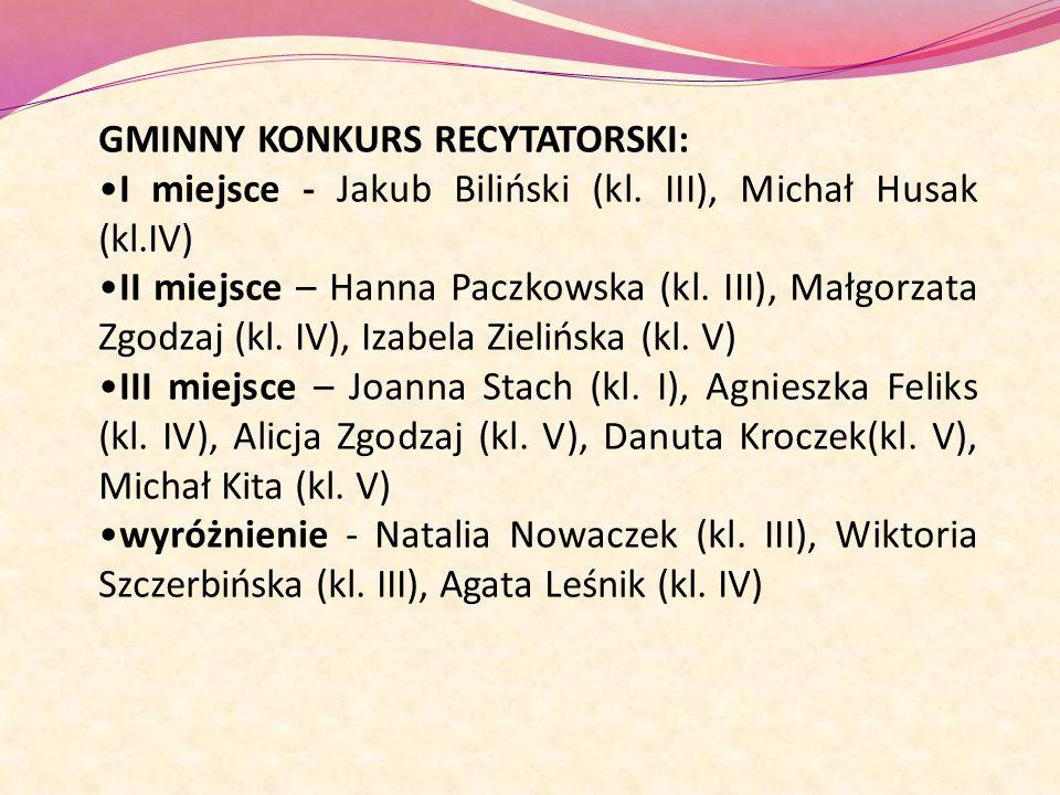 GMINNY KONKURS RECYTATORSKI: I miejsce - Jakub Biliński (kl. III), Michał Husak (kl.IV) II miejsce – Hanna Paczkowska (kl. III), Małgorzata Zgodzaj (k