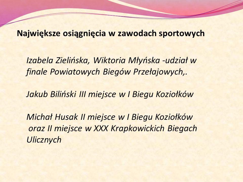 Największe osiągnięcia w zawodach sportowych Izabela Zielińska, Wiktoria Młyńska -udział w finale Powiatowych Biegów Przełajowych,. Jakub Biliński III
