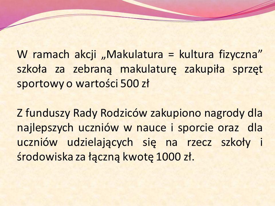 W ramach akcji Makulatura = kultura fizyczna szkoła za zebraną makulaturę zakupiła sprzęt sportowy o wartości 500 zł Z funduszy Rady Rodziców zakupion