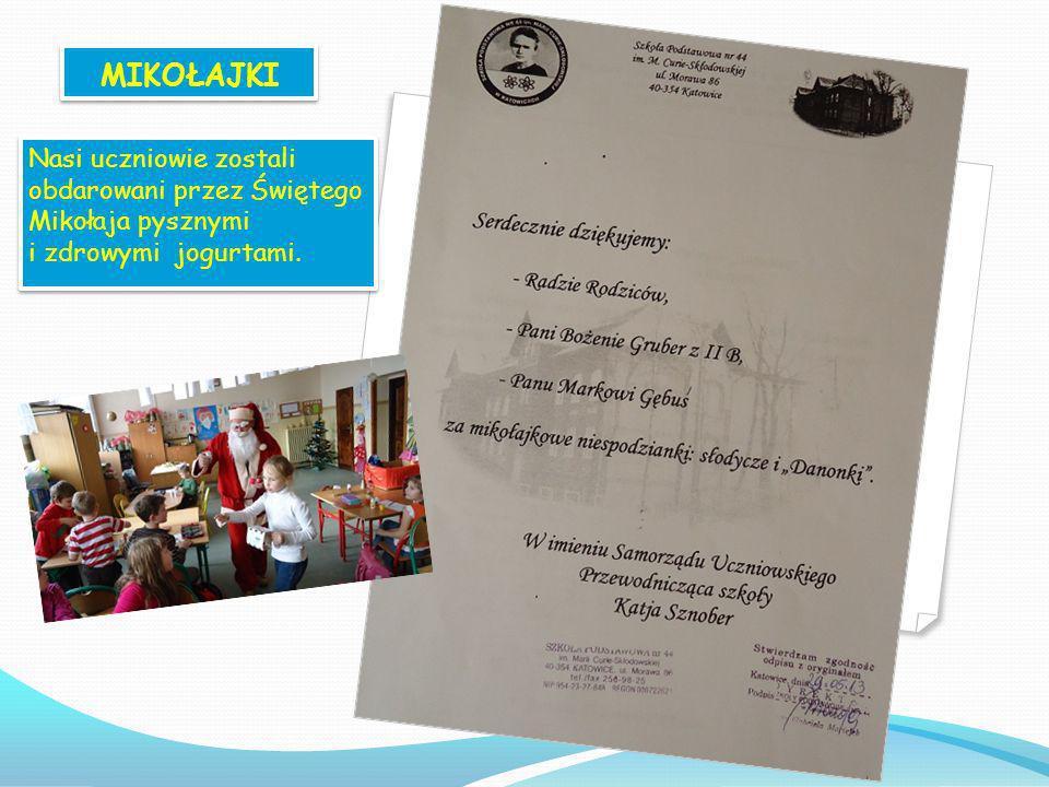 W grudniu 2012 roku nasi uczniowie wzięli udział w konkursie plastycznym pt.: Wiem co jem. W klasie III b odbyły się zajęcia kulinarne, których celem