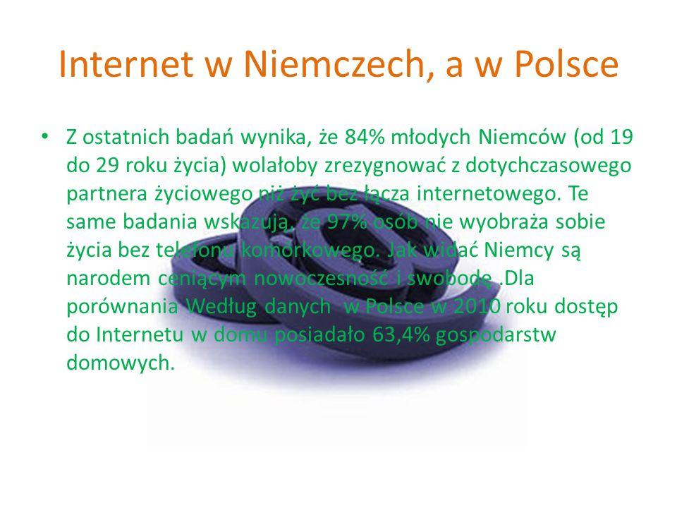 Internet w Niemczech, a w Polsce Z ostatnich badań wynika, że 84% młodych Niemców (od 19 do 29 roku życia) wolałoby zrezygnować z dotychczasowego part
