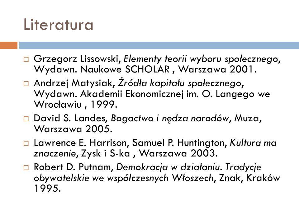 Literatura Grzegorz Lissowski, Elementy teorii wyboru społecznego, Wydawn. Naukowe SCHOLAR, Warszawa 2001. Andrzej Matysiak, Źródła kapitału społeczne