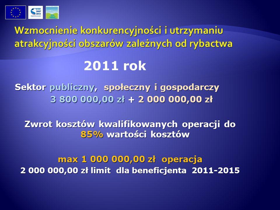 Sektor publiczny, społeczny i gospodarczy 3 800 000,00 zł + 2 000 000,00 zł 3 800 000,00 zł + 2 000 000,00 zł Zwrot kosztów kwalifikowanych operacji d