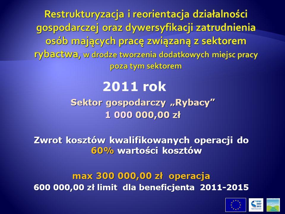 Sektor gospodarczy Rybacy Sektor gospodarczy Rybacy 1 000 000,00 zł 1 000 000,00 zł Zwrot kosztów kwalifikowanych operacji do 60% wartości kosztów max