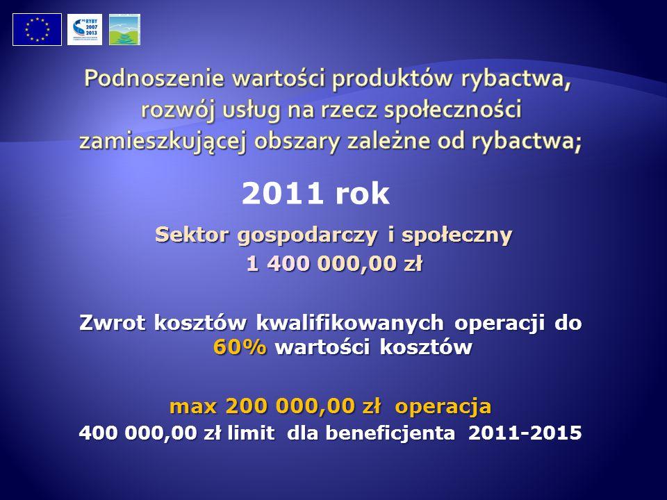 Sektor gospodarczy i społeczny Sektor gospodarczy i społeczny 1 400 000,00 zł 1 400 000,00 zł Zwrot kosztów kwalifikowanych operacji do 60% wartości k
