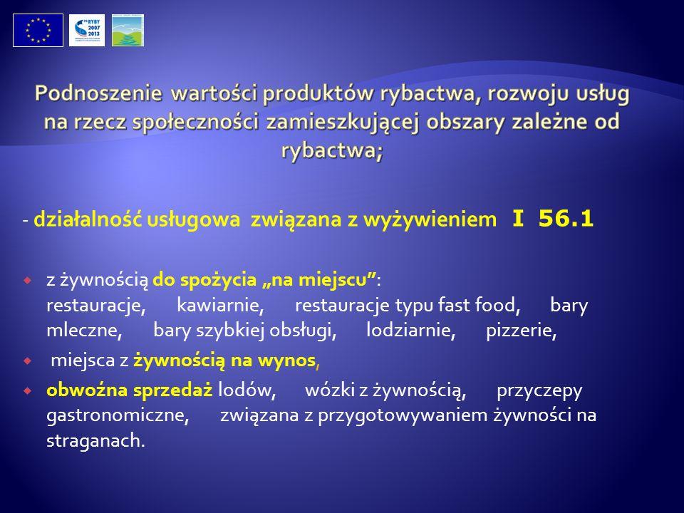 - działalność usługowa związana z wyżywieniem I 56.1 z żywnością do spożycia na miejscu: restauracje, kawiarnie, restauracje typu fast food, bary mlec