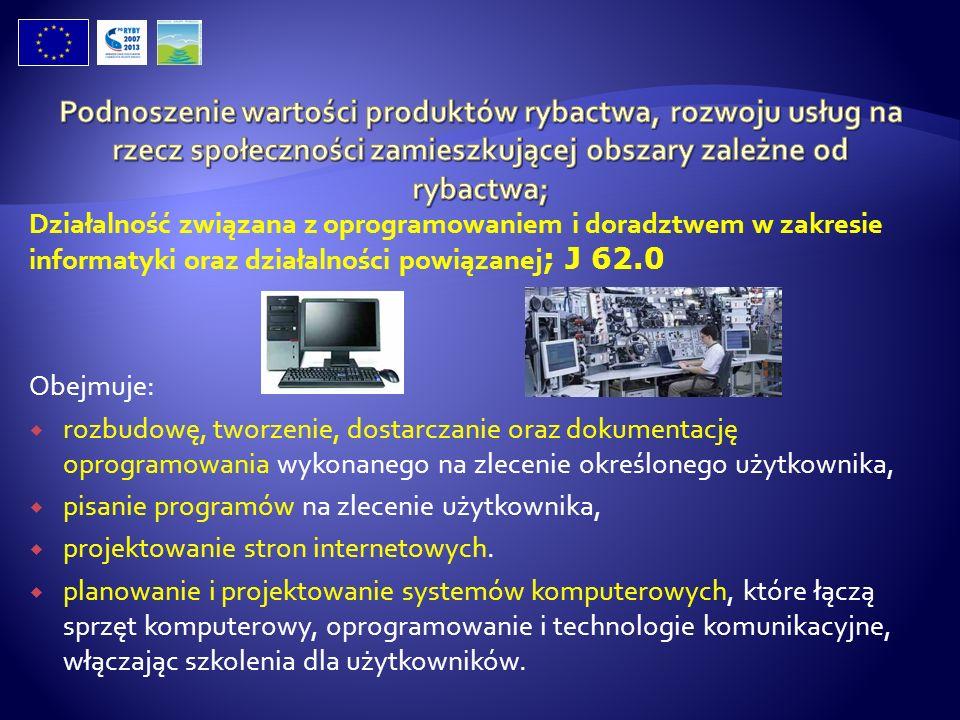 Działalność związana z oprogramowaniem i doradztwem w zakresie informatyki oraz działalności powiązanej ; J 62.0 Obejmuje: rozbudowę, tworzenie, dosta