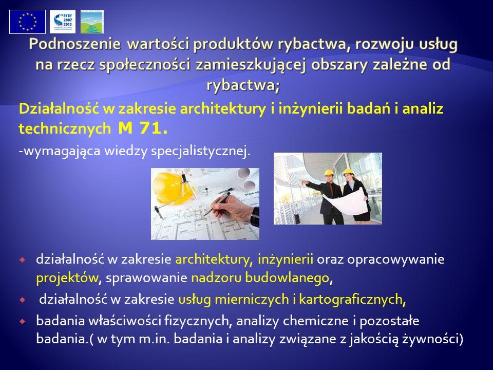 Działalność w zakresie architektury i inżynierii badań i analiz technicznych M 71. -wymagająca wiedzy specjalistycznej. działalność w zakresie archite