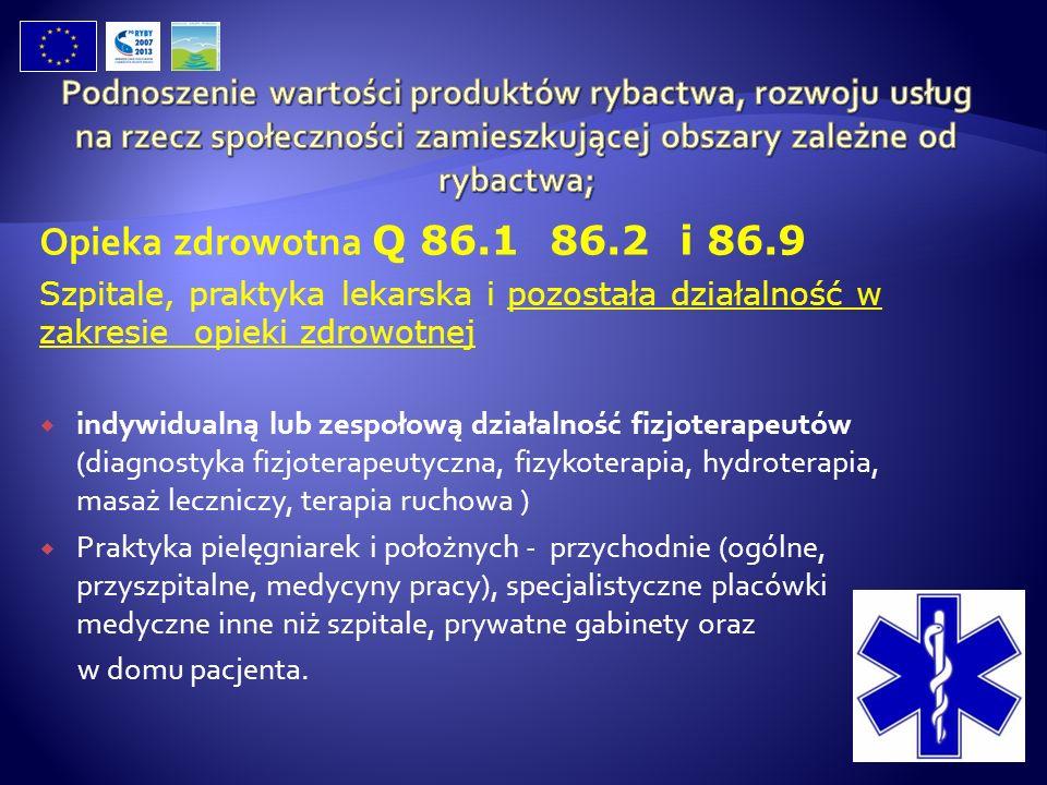 Opieka zdrowotna Q 86.1 86.2 i 86.9 Szpitale, praktyka lekarska i pozostała działalność w zakresie opieki zdrowotnej indywidualną lub zespołową działa