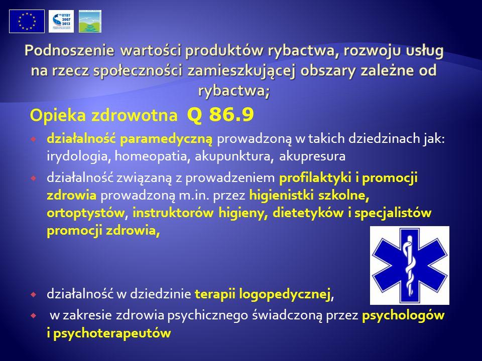 Opieka zdrowotna Q 86.9 działalność paramedyczną prowadzoną w takich dziedzinach jak: irydologia, homeopatia, akupunktura, akupresura działalność zwią