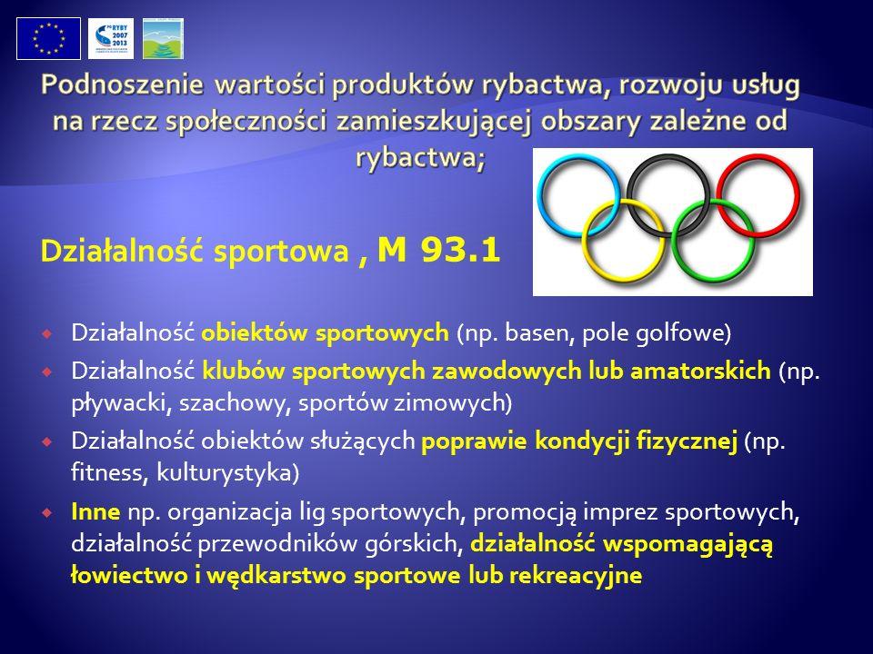 Działalność sportowa, M 93.1 Działalność obiektów sportowych (np. basen, pole golfowe) Działalność klubów sportowych zawodowych lub amatorskich (np. p