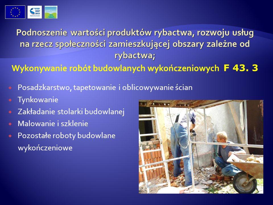 Posadzkarstwo, tapetowanie i oblicowywanie ścian Tynkowanie Zakładanie stolarki budowlanej Malowanie i szklenie Pozostałe roboty budowlane wykończenio