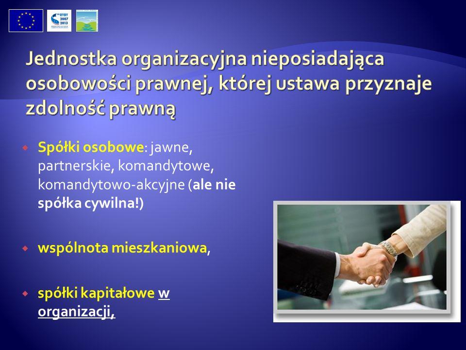 Spółki osobowe: jawne, partnerskie, komandytowe, komandytowo-akcyjne (ale nie spółka cywilna!) wspólnota mieszkaniowa, spółki kapitałowe w organizacji