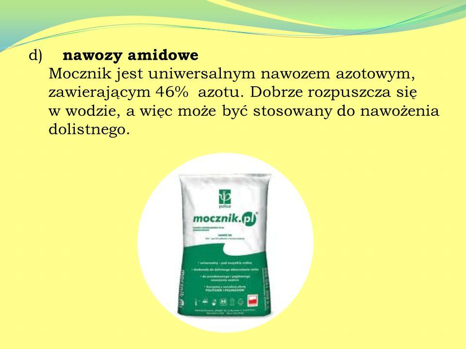 c) nawozy saletrzano- amonowe - Saletra amonowa jest jednym z najbardziej popularnych nawozów mineralnych, stanowi doskonały nawóz azotowy. - Saletrza