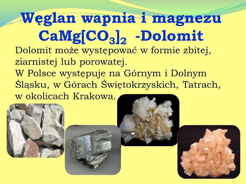 Węglan wapnia - CaCO 3 Biała substancja krystaliczna, prawie nierozpuszczalna w wodzie. Ogrzany rozkłada się na tlenek wapniowy CaO ( wapno palone ) i
