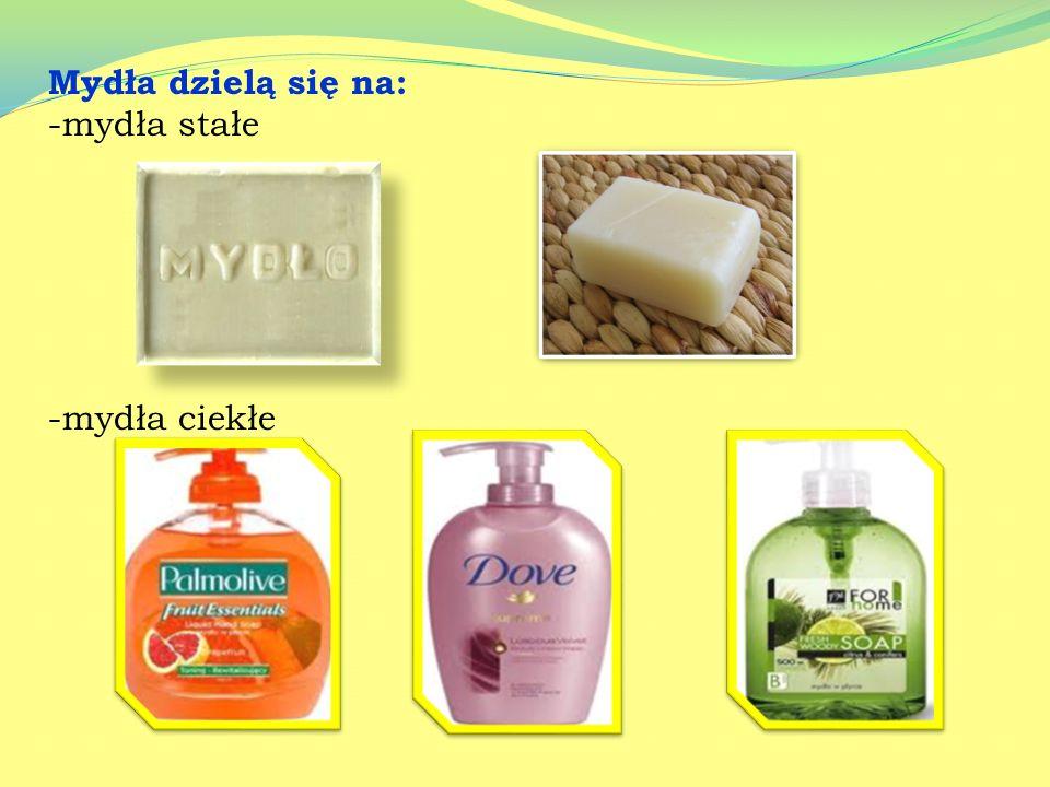 Mydła- są solami sodowymi lub potasowymi wyższych kwasów tłuszczowych. Odczyn wodnych roztworów mydeł jest zasadowy Produkcja mydła Proces wytwarzania