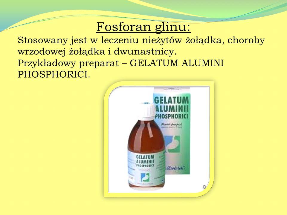 Sole glinu Chlorek glinu: 10-20% roztwory stosowane są w leczeniu i profilaktyce nadpotliwości. Przykładowy preparat – ANTIDRAL.