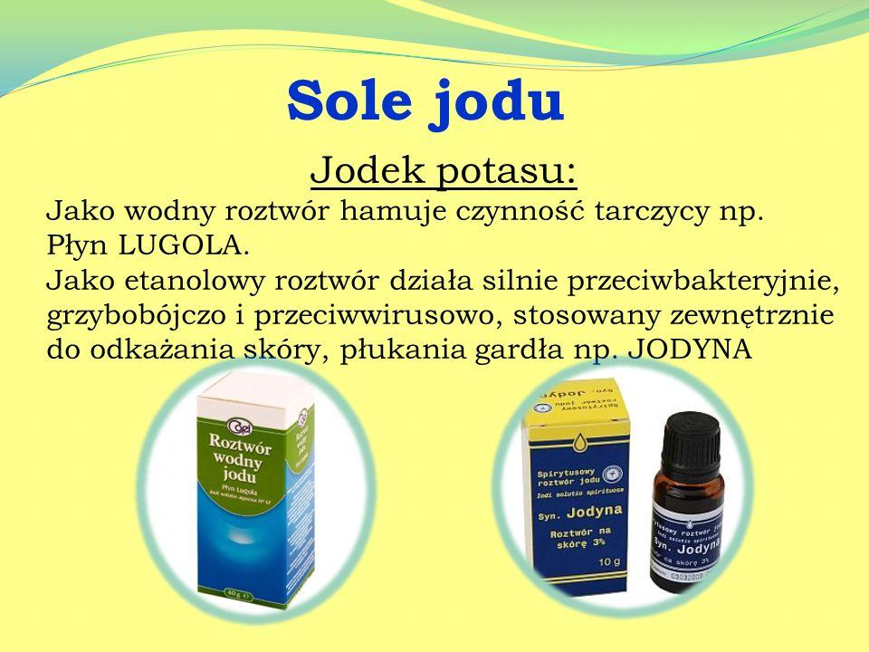 Sole wapnia Sole wapnia stosowane są w okresie intensywnego wzrostu dzieci i młodzieży, w leczeniu osteoporozy, wspomagająco w chorobach alergicznych.