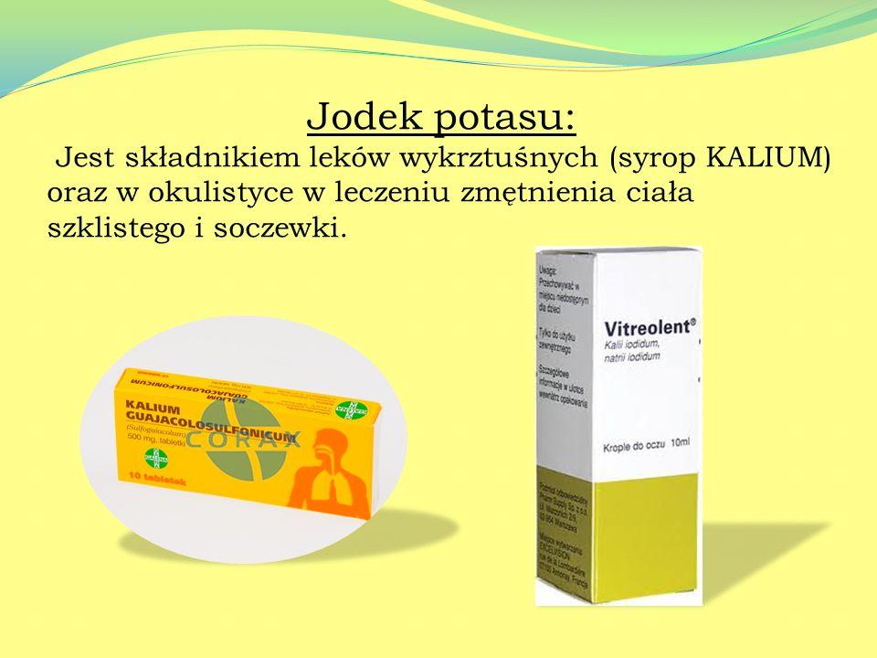 Sole potasu Chlorek potasu: Bierze udział w prawidłowym funkcjonowaniu układu nerwowego, mięśniowego i w metabolizmie węglowodanów. Stosowany w tablet