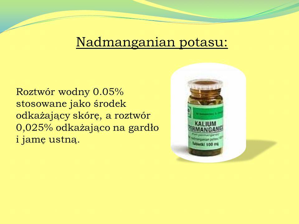 Jodek potasu: Jest składnikiem leków wykrztuśnych (syrop KALIUM) oraz w okulistyce w leczeniu zmętnienia ciała szklistego i soczewki.