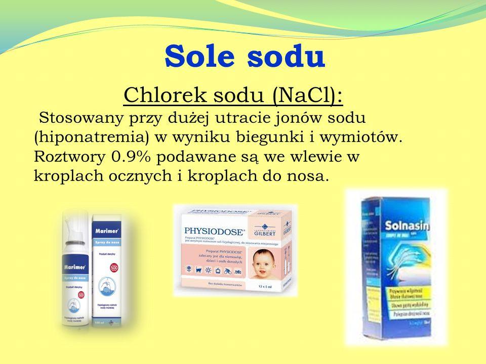 Siarczan magnezu: Stosowany doustnie jako środek przeczyszczający w zaparciach. Przykładowy preparat - Sól gorzka.