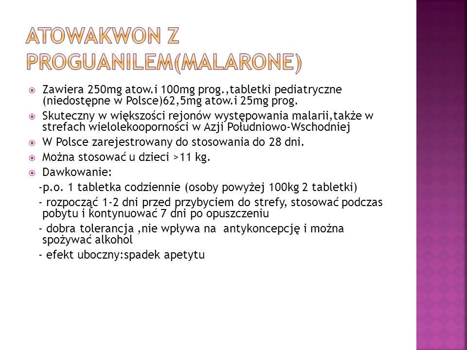 Zawiera 250mg atow.i 100mg prog.,tabletki pediatryczne (niedostępne w Polsce)62,5mg atow.i 25mg prog. Skuteczny w większości rejonów występowania mala