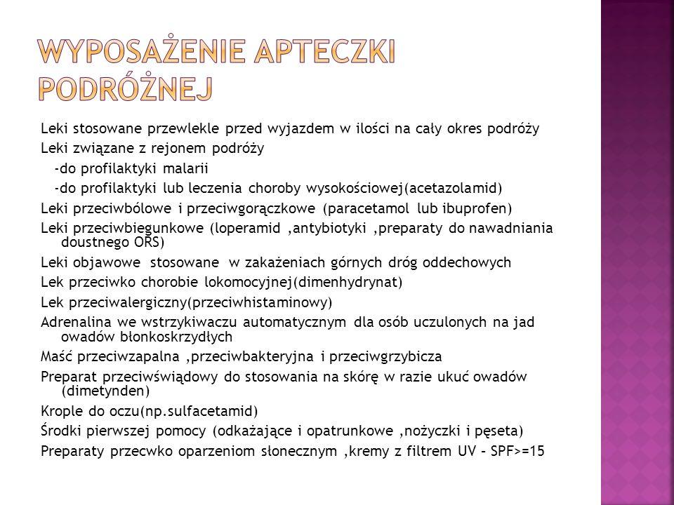 Leki stosowane przewlekle przed wyjazdem w ilości na cały okres podróży Leki związane z rejonem podróży -do profilaktyki malarii -do profilaktyki lub leczenia choroby wysokościowej(acetazolamid) Leki przeciwbólowe i przeciwgorączkowe (paracetamol lub ibuprofen) Leki przeciwbiegunkowe (loperamid,antybiotyki,preparaty do nawadniania doustnego ORS) Leki objawowe stosowane w zakażeniach górnych dróg oddechowych Lek przeciwko chorobie lokomocyjnej(dimenhydrynat) Lek przeciwalergiczny(przeciwhistaminowy) Adrenalina we wstrzykiwaczu automatycznym dla osób uczulonych na jad owadów błonkoskrzydłych Maść przeciwzapalna,przeciwbakteryjna i przeciwgrzybicza Preparat przeciwświądowy do stosowania na skórę w razie ukuć owadów (dimetynden) Krople do oczu(np.sulfacetamid) Środki pierwszej pomocy (odkażające i opatrunkowe,nożyczki i pęseta) Preparaty przecwko oparzeniom słonecznym,kremy z filtrem UV – SPF>=15
