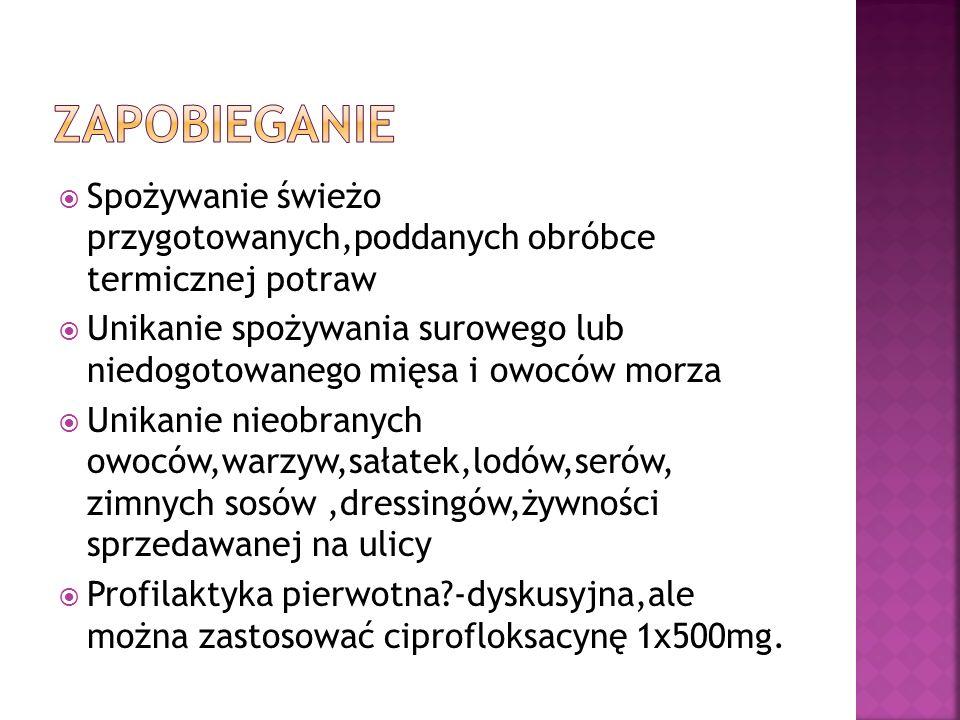 Nawadnianie:zalecany przez WHO doustny glukozowo-elektrolitowy płyn nawadniający w którym stężenie Na 60mmol/l,glukozy 74- 111mmol/l, o osmolarności 200- 250mOsm/l(Floridral,Gastrolit,Humana Elektrolit,Orsalit) Leki zapierające: -Loperamid-początkowo 4 mg,potem 2mg po każdym stolcu(max 16mg na dobę) -u dzieci można stosować powyżej 6 roku życia