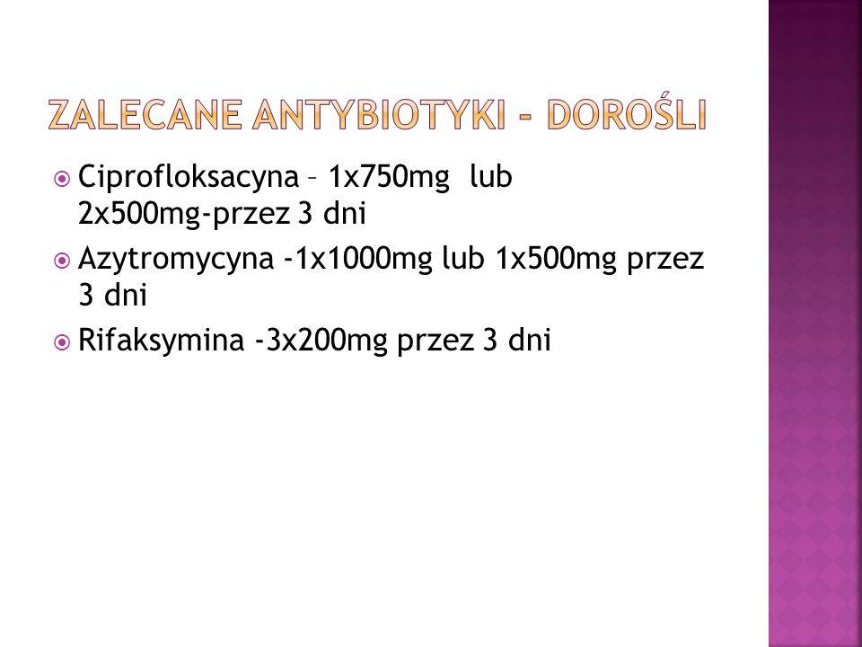 Ciprofloksacyna – 1x750mg lub 2x500mg-przez 3 dni Azytromycyna -1x1000mg lub 1x500mg przez 3 dni Rifaksymina -3x200mg przez 3 dni