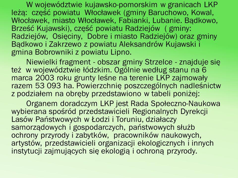 W województwie kujawsko-pomorskim w granicach LKP leżą: część powiatu Włocławek (gminy Baruchowo, Kowal, Włocławek, miasto Włocławek, Fabianki, Lubani