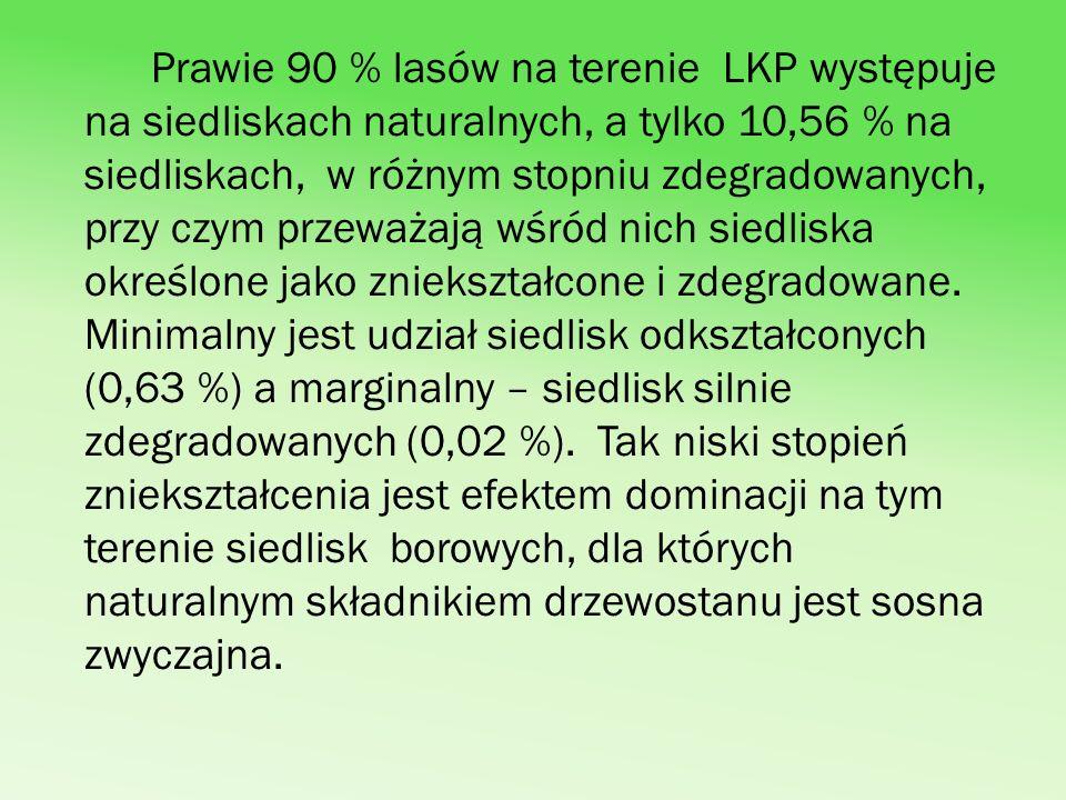 Pod względem składu gatunkowego na terenie LKP Lasy Gostynińsko- Włocławskie największą powierzchnię zajmują drzewostany jednogatunkowe (57,62 %) i - dwugatunkowe - 21,35 %).