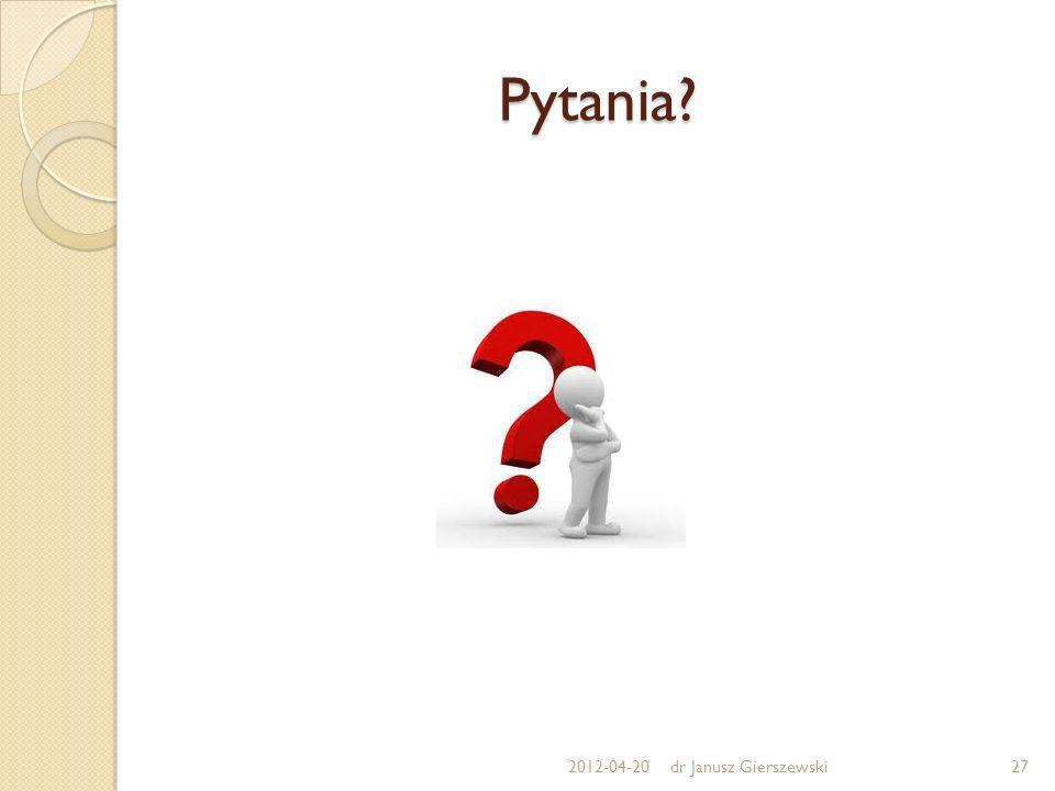 Pytania? 2012-04-20dr Janusz Gierszewski27