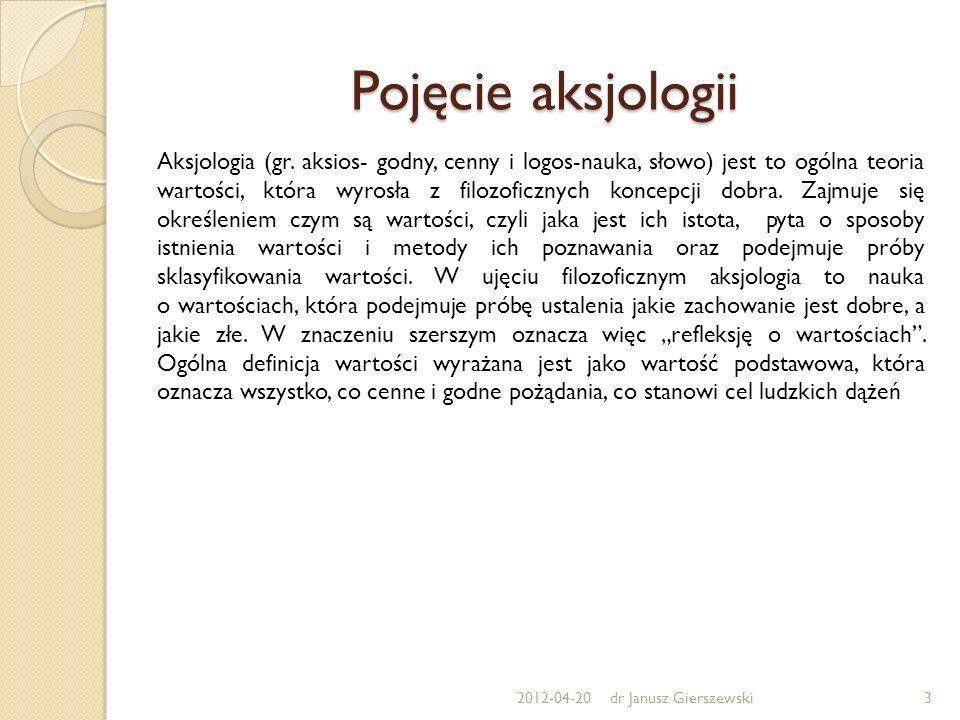 Pojęcie aksjologii Aksjologia (gr. aksios- godny, cenny i logos-nauka, słowo) jest to ogólna teoria wartości, która wyrosła z filozoficznych koncepcji
