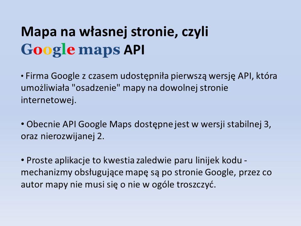 Firma Google z czasem udostępniła pierwszą wersję API, która umożliwiała