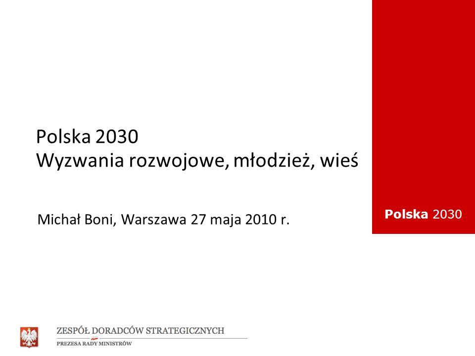 Polska 2030 Model długookresowego rozwoju Polska 2030 Sprawne państwo Potencjał demograficzny Polityka wzrostu gospodarczego Solidne fundamenty rozwoju Polski Zrównoważony rozwój regionalny Większa spójność społeczna Społeczny wymiar rozwoju Rozwój kapitału społecznego Dobra jakość życia Aspiracje – roszczenia, perspektywa generacyjna, solidarność pokoleń.