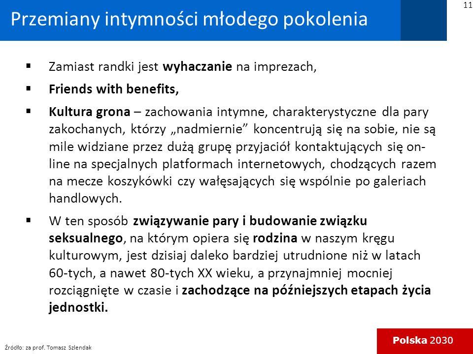 Polska 2030 Przemiany intymności młodego pokolenia Zamiast randki jest wyhaczanie na imprezach, Friends with benefits, Kultura grona – zachowania intymne, charakterystyczne dla pary zakochanych, którzy nadmiernie koncentrują się na sobie, nie są mile widziane przez dużą grupę przyjaciół kontaktujących się on- line na specjalnych platformach internetowych, chodzących razem na mecze koszykówki czy wałęsających się wspólnie po galeriach handlowych.