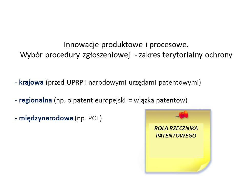 Innowacje produktowe i procesowe. Wybór procedury zgłoszeniowej - zakres terytorialny ochrony - krajowa (przed UPRP i narodowymi urzędami patentowymi)