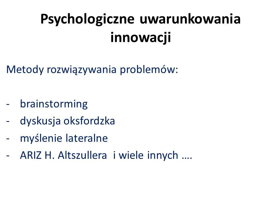 Psychologiczne uwarunkowania innowacji Metody rozwiązywania problemów: -brainstorming -dyskusja oksfordzka -myślenie lateralne -ARIZ H. Altszullera i