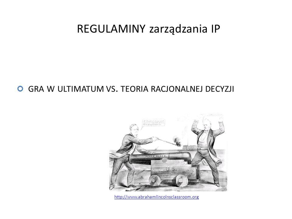 GRA W ULTIMATUM VS. TEORIA RACJONALNEJ DECYZJI http://www.abrahamlincolnsclassroom.org REGULAMINY zarządzania IP