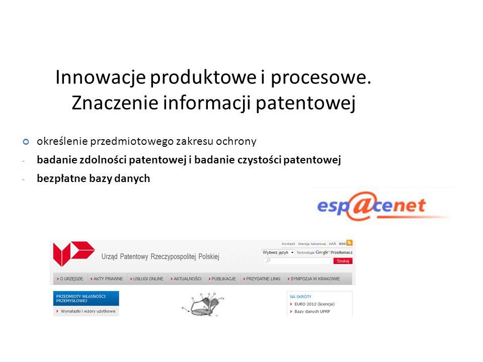 Innowacje produktowe i procesowe. Znaczenie informacji patentowej określenie przedmiotowego zakresu ochrony - badanie zdolności patentowej i badanie c