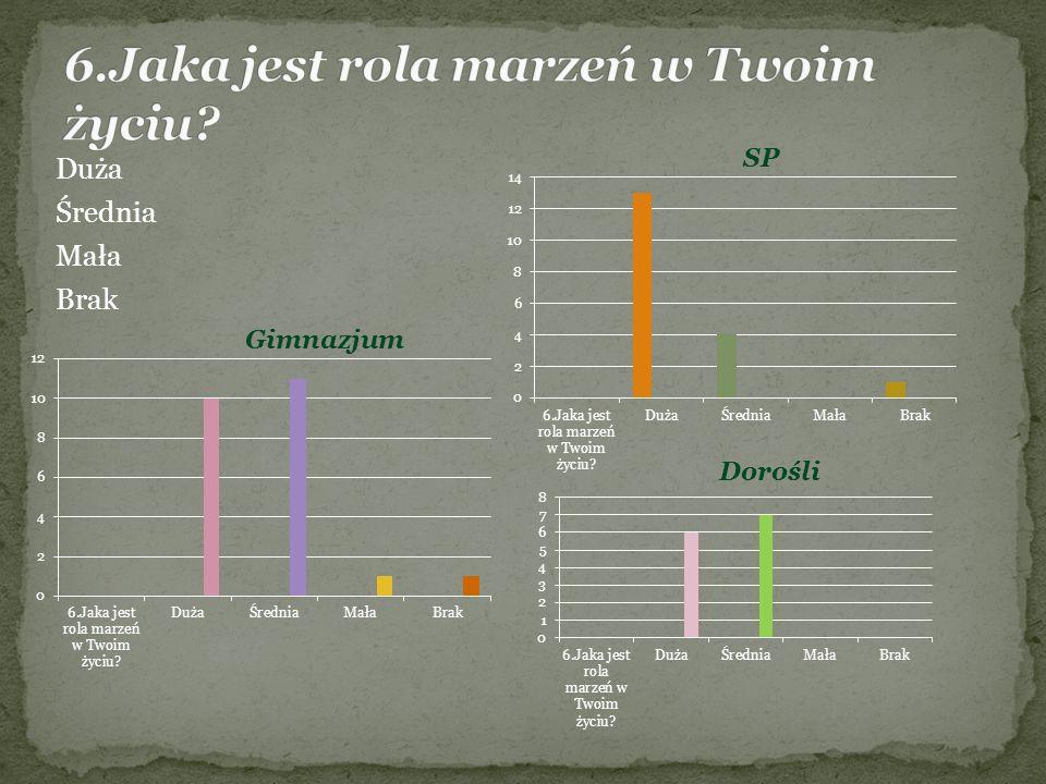 Duża Średnia Mała Brak Gimnazjum SP Dorośli