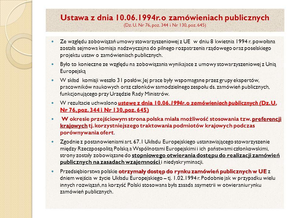 Ustawa z dnia 10.06.1994r. o zamówieniach publicznych (Dz. U. Nr 76, poz. 344 i Nr 130, poz. 645) Ze względu zobowiązań umowy stowarzyszeniowej z UE w