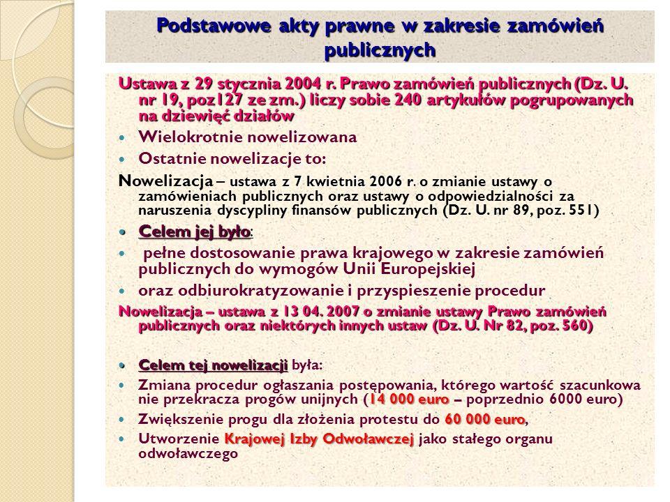 Podstawowe akty prawne w zakresie zamówień publicznych Ustawa z 29 stycznia 2004 r.