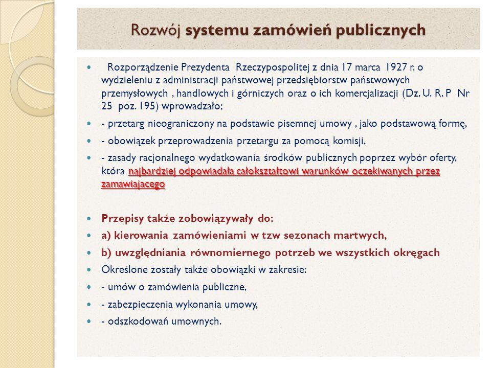 Rozwój systemu zamówień publicznych Rozporządzenie Prezydenta Rzeczypospolitej z dnia 17 marca 1927 r.