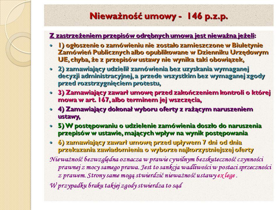 Nieważność umowy - 146 p.z.p.