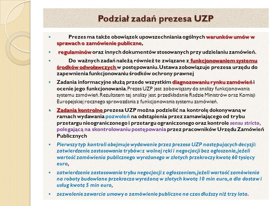 Podział zadań prezesa UZP warunków umów w sprawach o zamówienie publiczne Prezes ma także obowiązek upowszechniania ogólnych warunków umów w sprawach o zamówienie publiczne, regulaminów regulaminów oraz innych dokumentów stosowanych przy udzielaniu zamówień.