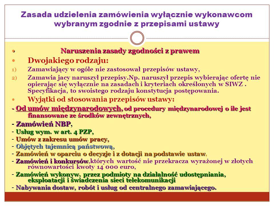 Zasada udzielenia zamówienia wyłącznie wykonawcom wybranym zgodnie z przepisami ustawy Naruszenia zasady zgodności z prawem Naruszenia zasady zgodnośc