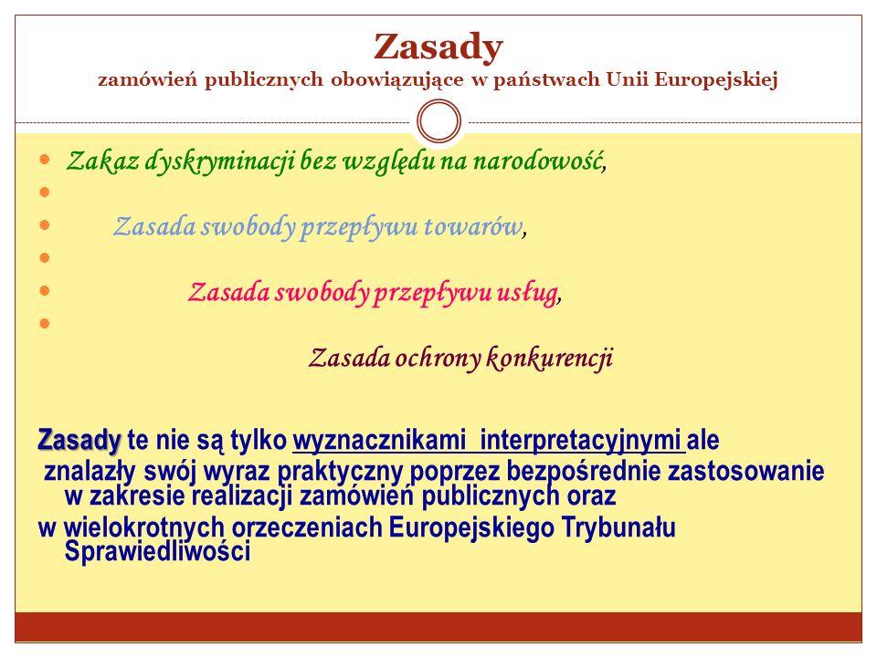 Zasady zamówień publicznych obowiązujące w państwach Unii Europejskiej Zakaz dyskryminacji bez względu na narodowość, Zasada swobody przepływu towarów