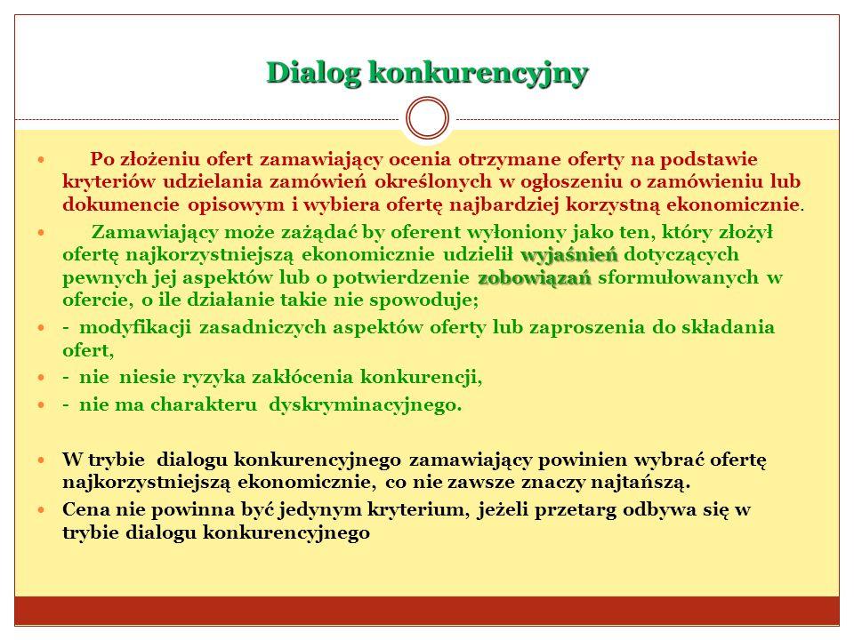Dialog konkurencyjny Po złożeniu ofert zamawiający ocenia otrzymane oferty na podstawie kryteriów udzielania zamówień określonych w ogłoszeniu o zamów