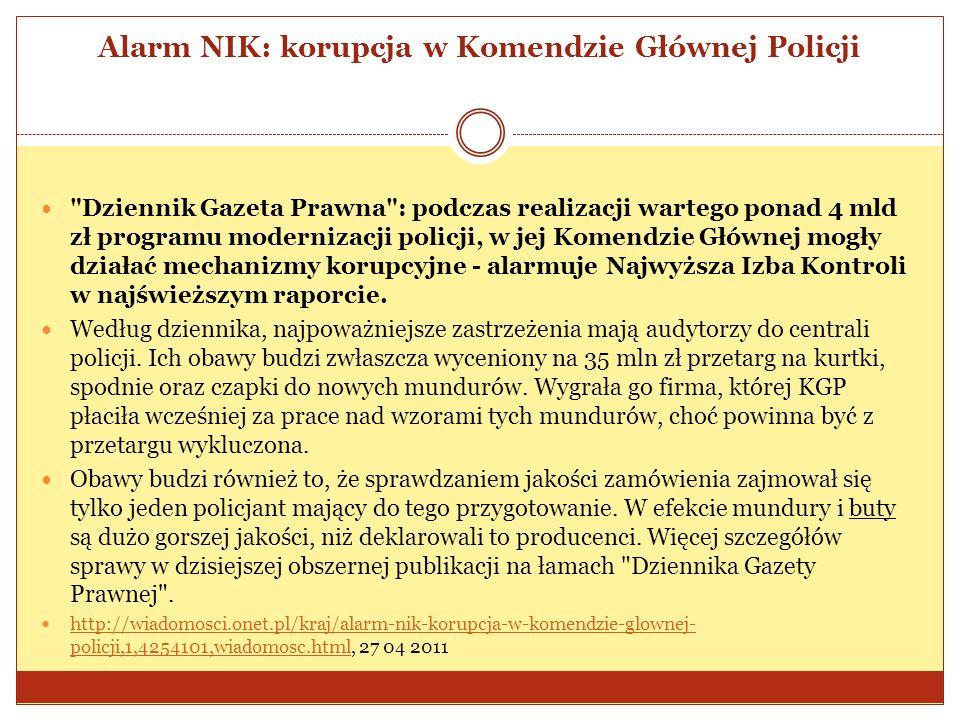 Alarm NIK: korupcja w Komendzie Głównej Policji